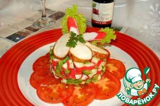 Салат из крабовых палочек с авокадо и куриной грудкой