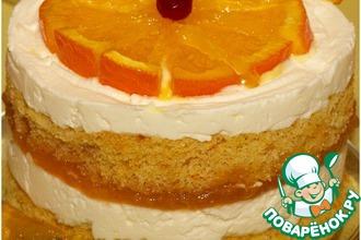 """Десерт """"Баварезе"""" с горячими апельсиновыми дольками"""