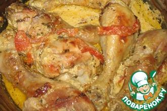 Куриные голени в сметанно-чесночном соусе