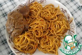"""Телятина """"Коккинисто"""" со спагетти"""