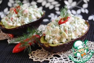 Салат из авокадо с крабовыми палочками