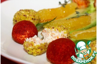 Легкий салат с крабовыми палочками и креветками