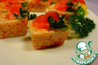 Закуска из крабовых палочек с лососем