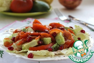 Салат из хурмы, авокадо и граната