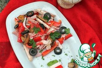 Легкий салат с грибами и крабовыми палочками