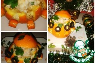 Нарядный апельсин с начинкой из кедровых орешков, риса и грибов
