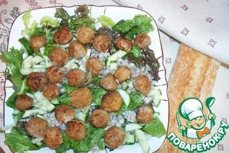 Сытный салат с перловкой