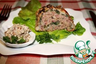 Рулет из дикого риса Акватика Color MIX с мясом, шпинатом и сливочно-грибным соусом