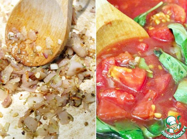 После этого добавим специи, немного соли и перца и, помешивая, будем готовить еще минутку. Дальше добавляем помидоры, томатный сок, сахар, уксус и листья базилика, все перемешиваем и варим на слабом огне, в среднем 25-30 минут, возможно немного больше, это зависит от помидоров. После этого даем будущему кетчупу немного остыть и протрите через мелкое сито. При необходимости добавьте еще соли и перца.