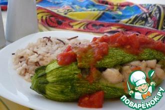 Кабачок, фаршированный курицей с овощами