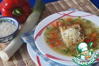 Суп из лука-порея с запеченным рисом