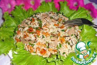 Рисовый салат с говядиной, курагой и орехово-апельсиновым соусом