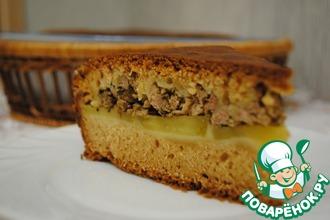 Бездрожжевой пирог с картофелем и фаршем