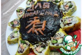 """Японская""""Звезда"""" (ролловый торт и роллы в темпуре)"""
