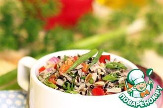 Салат из дикого риса и зеленого лука