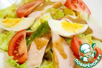 Овощной салат с курицей и яйцом