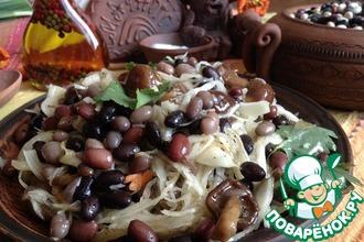 Салат-закуска из фасоли с капустой и грибами