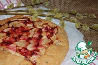 Овсяная галета с яблоком и вишнёвым конфитюром