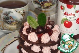 """""""Шоколадно-творожный десерт с вишневым низкокалорийным конфитюром d'arbo"""" для тех, кто следит за фиг"""