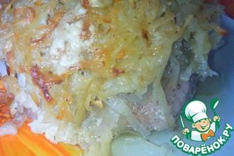 Куриные бедрышки под картофельной шубкой