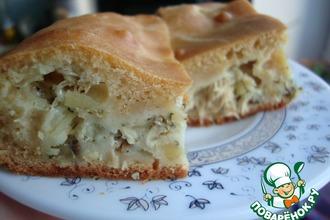 Пирог на кефире с рыбной начинкой
