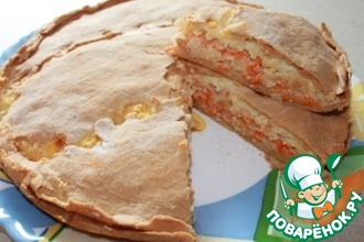 Пирог закусочный с луком, морковью и плавлеными сырками