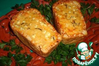 Сырно-овощной жульен в белом хлебе