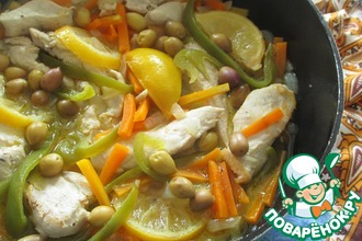 Курица с овощами и оливками по мотивам тажина