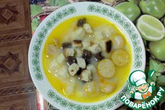 Сырный суп с сухариками в мультиварке