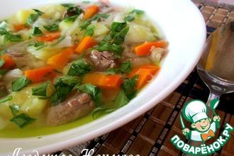 Суп мясной с зеленым горошком