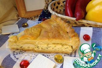 Творожно-сырный закрытый пирог с зеленью
