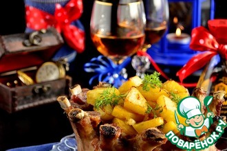 """""""Новогодняя корона"""" из свиных ребер и картофеля"""
