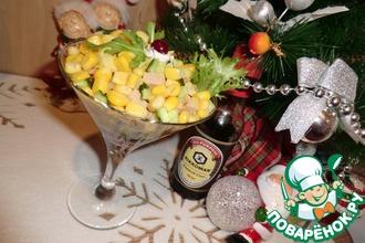 Салат-коктейль с печенью трески