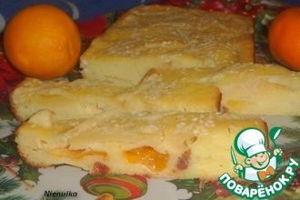 Манный пирог с изюмом и мандаринами