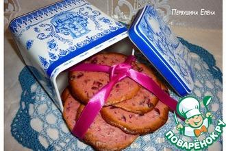 Розовые мини-бисквиты с клюквой