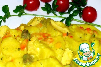 Картофель с мясом в сметанном соусе
