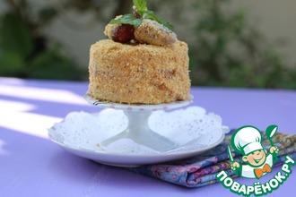 Бисквитное клубнично-сливочное пирожное
