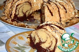 Ванильно-шоколадный кекс с соусом и кокосом