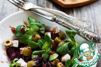 Салат из печеной свеклы с малиновым соусом