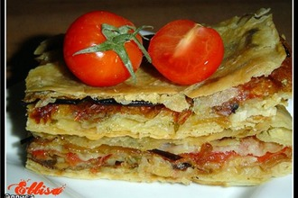 Пирог из лаваша с овощами и грибами