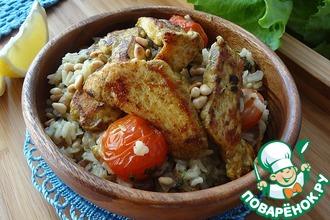 Плов из коричневого риса с жареной курицей