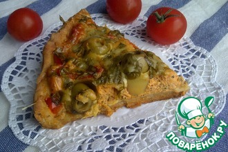 Тарт с творогом, кабачками и оливками