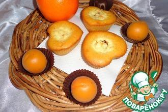 Апельсиновые кексы с творожно-шоколадной начинкой