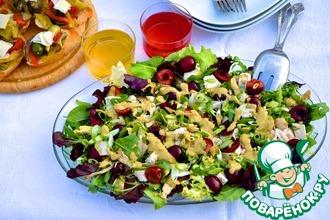 Салат из курицы с черешней и соусом кари
