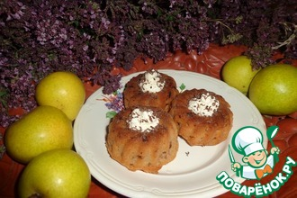 Яблочно-грушевые кексы с творожной начинкой
