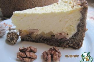 Творожно-яблочный пирог с маково-ореховой основой