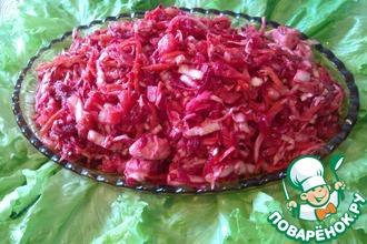 Салат овощной с курицей