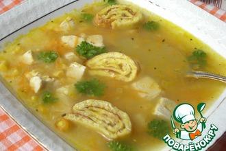 """Кукурузный суп с яичными """"улитками"""""""