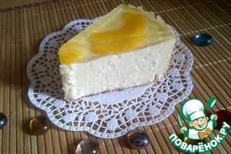 Кокосовая запеканка-торт из творога с персиковым желе