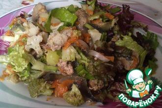 Теплый салат с печенкой